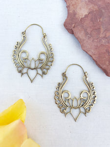 Blooming Lotus Brass Hoop Earrings