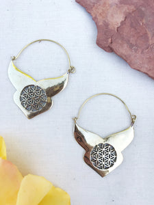 Flower of Life Brass Hoop Earrings