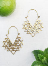 Load image into Gallery viewer, Sri Yantra Brass Hoop Earrings