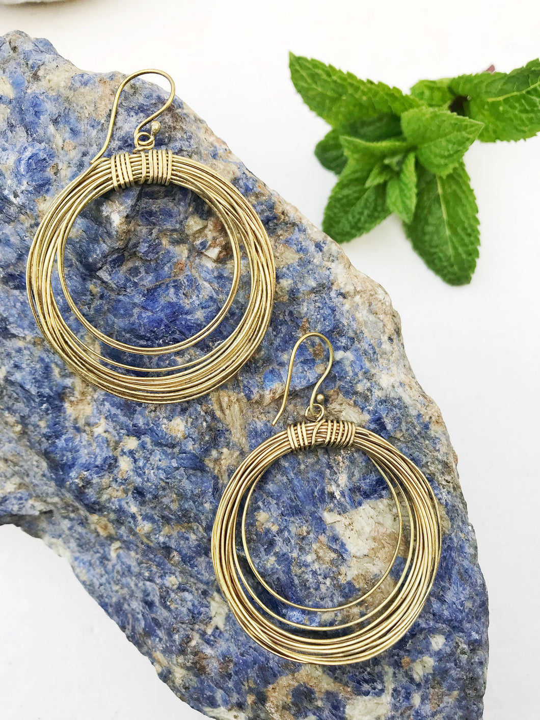 Large Circle Hoop Brass Earrings