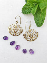 Load image into Gallery viewer, Lotus  Brass Earrings