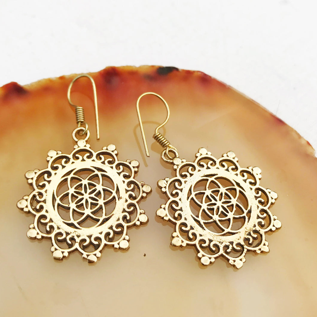 Seed of Life Brass Mandala Earrings