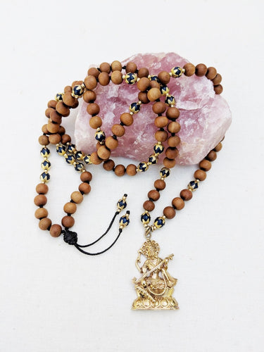 Yoga Mala | Lapis Lazulil Sandalwood Saraswati Pendant Necklace | 108 Beads
