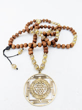 Load image into Gallery viewer, Yoga Mala | Rutilated Quartz Sandalwood Sri Yantra Mandala Pendant Necklace | 108 Beads