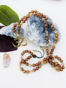 Yoga Mala | White Agate Sandalwood Om Pendant Necklace | 108 Beads
