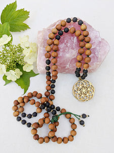 Yoga Mala | Black Lava Sandalwood Seed of Life Pendant Necklace | 108 Beads