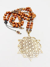 Load image into Gallery viewer, Yoga Mala | Smoky Quartz Sandalwood Sacred Geometry Pendant Necklace | 108 Beads