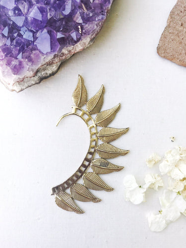 Brass Ear Cuff | Tribal Solid Leaves | Ear Wrap