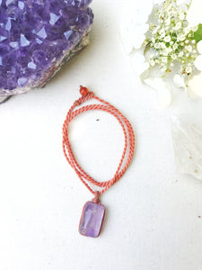 Amethyst Necklace | Micro Macrame | Handmade One of a Kind | Silver Accents