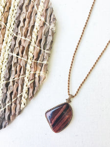 Red Tiger's Eye Necklace | Micro Macrame | Handmade One of a Kind | Silver Accents