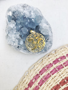 OM Flower of Life Pendant Necklace | With or Without Chain