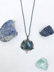 Moss Agate Necklace | Micro Macrame | Handmade One of a Kind | Silver Accents