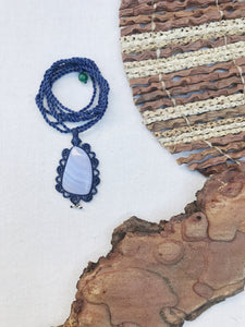 Blue Lace Agate Necklace | Micro Macrame | Handmade One of a Kind | Silver Accents