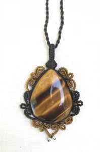 Tiger's Eye Necklace | Micro Macrame | Handmade One of a Kind | Silver Accents