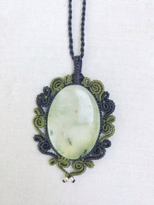 Prehnite Necklace | Micro Macrame | Handmade One of a Kind | Silver Accents