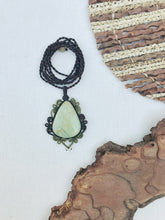 Load image into Gallery viewer, Prehnite Necklace | Micro Macrame | Handmade One of a Kind | Silver Accents