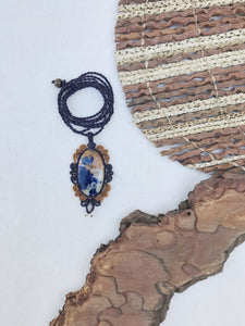 Sodalite Necklace | Micro Macrame | Handmade One of a Kind | Silver Accents