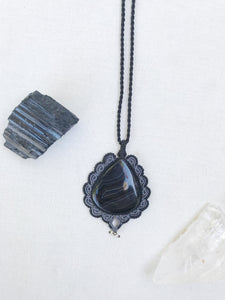 Agate Necklace | Micro Macrame | Handmade One of a Kind | Silver Accents