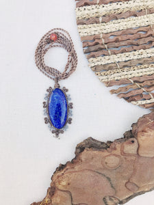 Lapis Lazuli Necklace | Micro Macrame | Handmade One of a Kind | Silver Accents