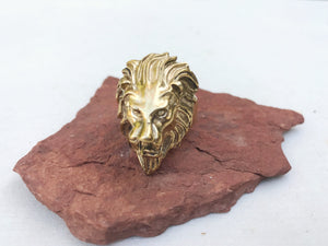 Lion Leo Large Brass Ring
