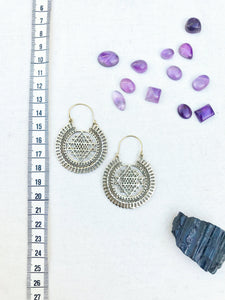 Sri Yantra Brass Hoop Earrings