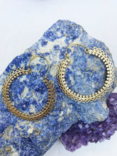 Load image into Gallery viewer, Large Indian Brass Hoop Earrings