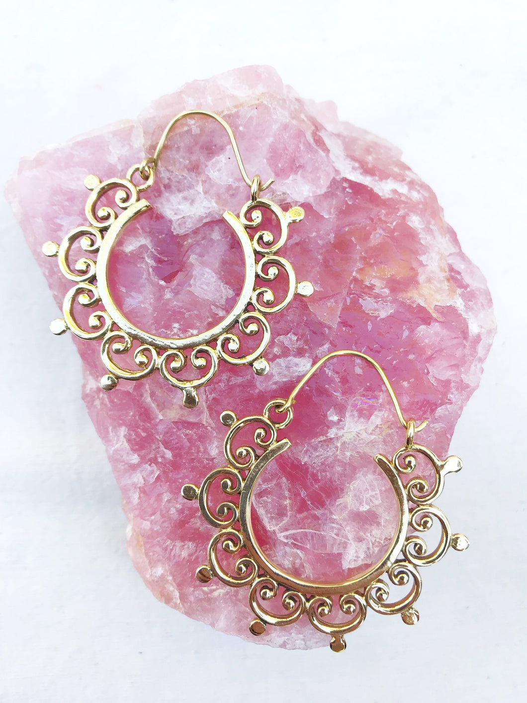 Joyful Mandala Brass Hoop Earrings