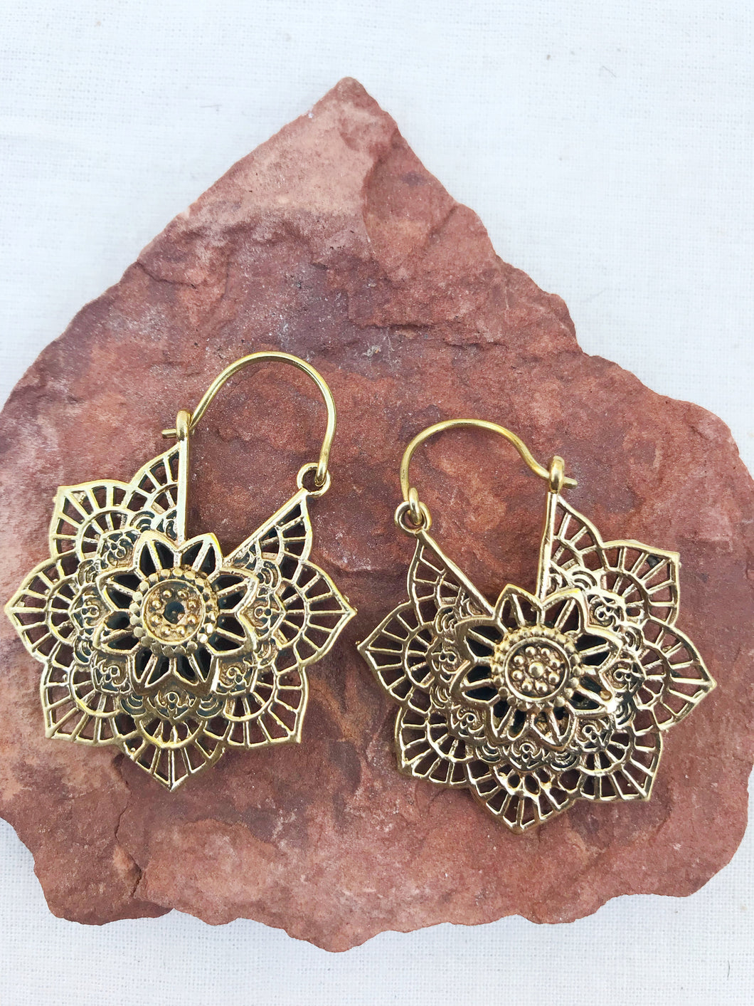 Flower Mandala Brass Hoop Earrings