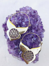 Load image into Gallery viewer, Flower of Life Brass Hoop Earrings