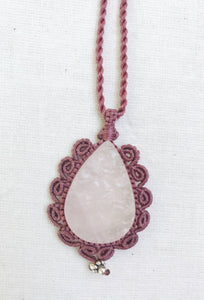 Rose Quartz Necklace | Micro Macrame | Handmade One of a Kind | Silver Accents