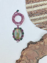 Load image into Gallery viewer, Unakite Necklace | Micro Macrame | Handmade One of a Kind | Silver Accents