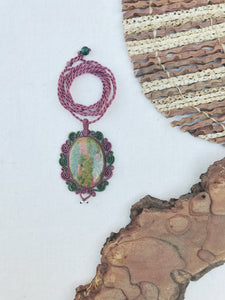 Unakite Necklace | Micro Macrame | Handmade One of a Kind | Silver Accents