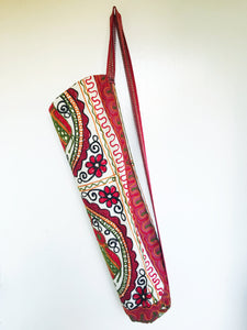 Handmade Indian Elephant Yoga Mat Bag Embroidered Vintage Boho Colorful  Ganesha Red