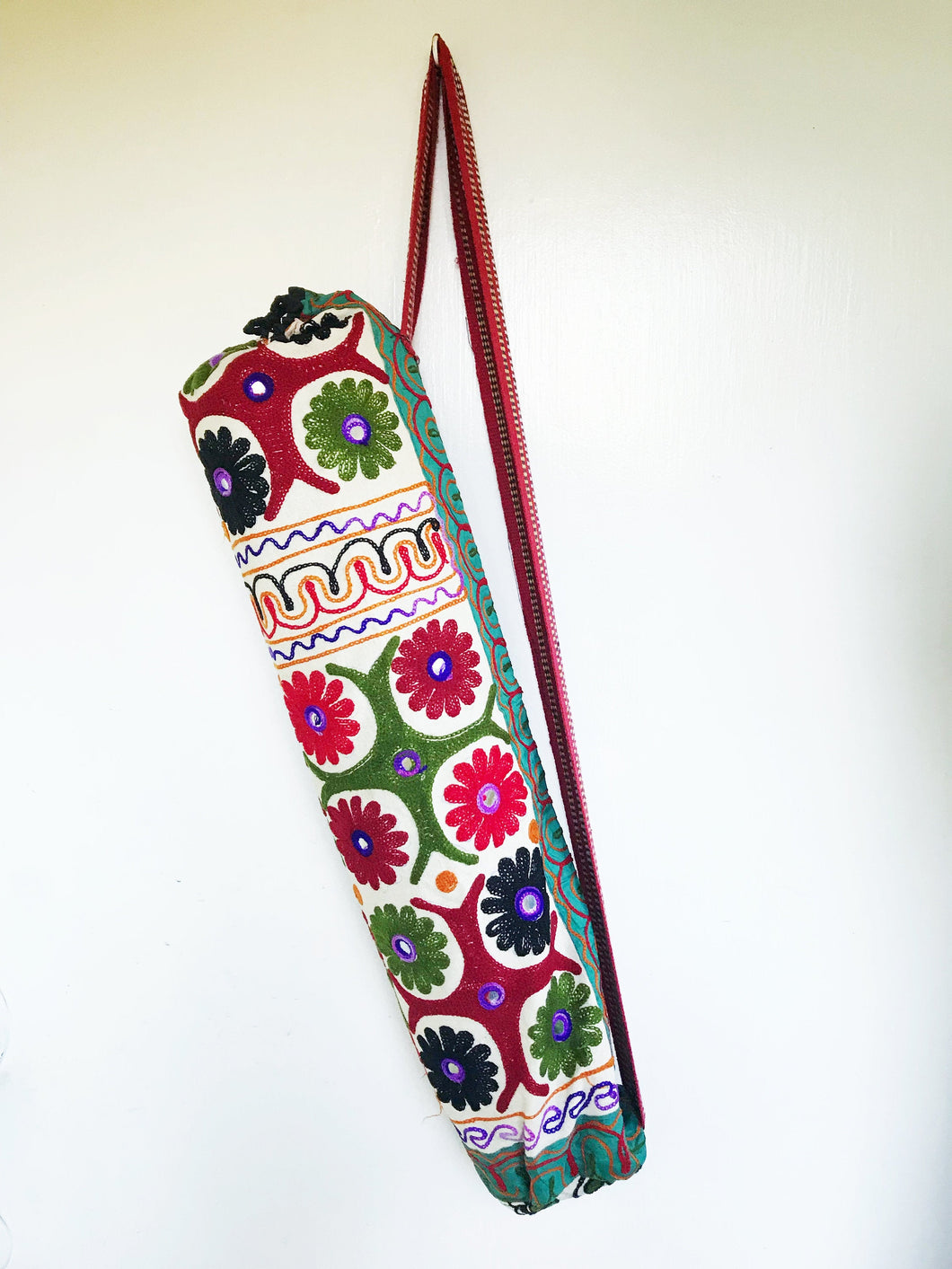 Handmade Indian Flower Yoga Mat Bag Embroidered Vintage Boho Colorful Mandala