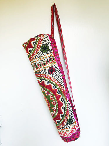 Handmade Indian Mandala Yoga Mat Bag Embroidered Vintage Boho Colorful Flower