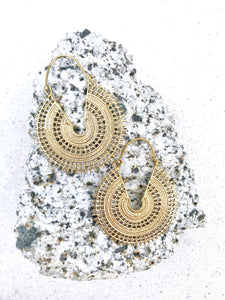 Ecstatic Hoop Mandala Brass Hoop Earrings