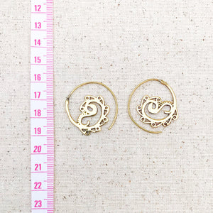 Indian Paisley Spiral Brass Earrings