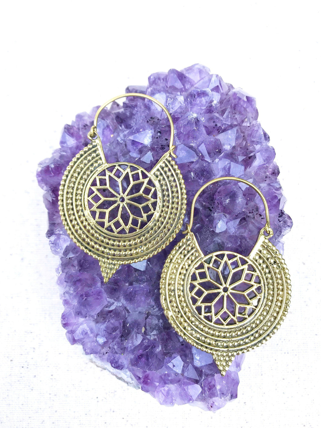 Star Within Brass Hoop Earrings
