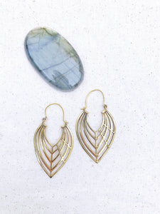 Leaf Brass Hoop Earrings