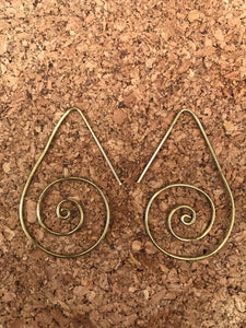 Spiral Ultra Light Brass Hoop Earrings