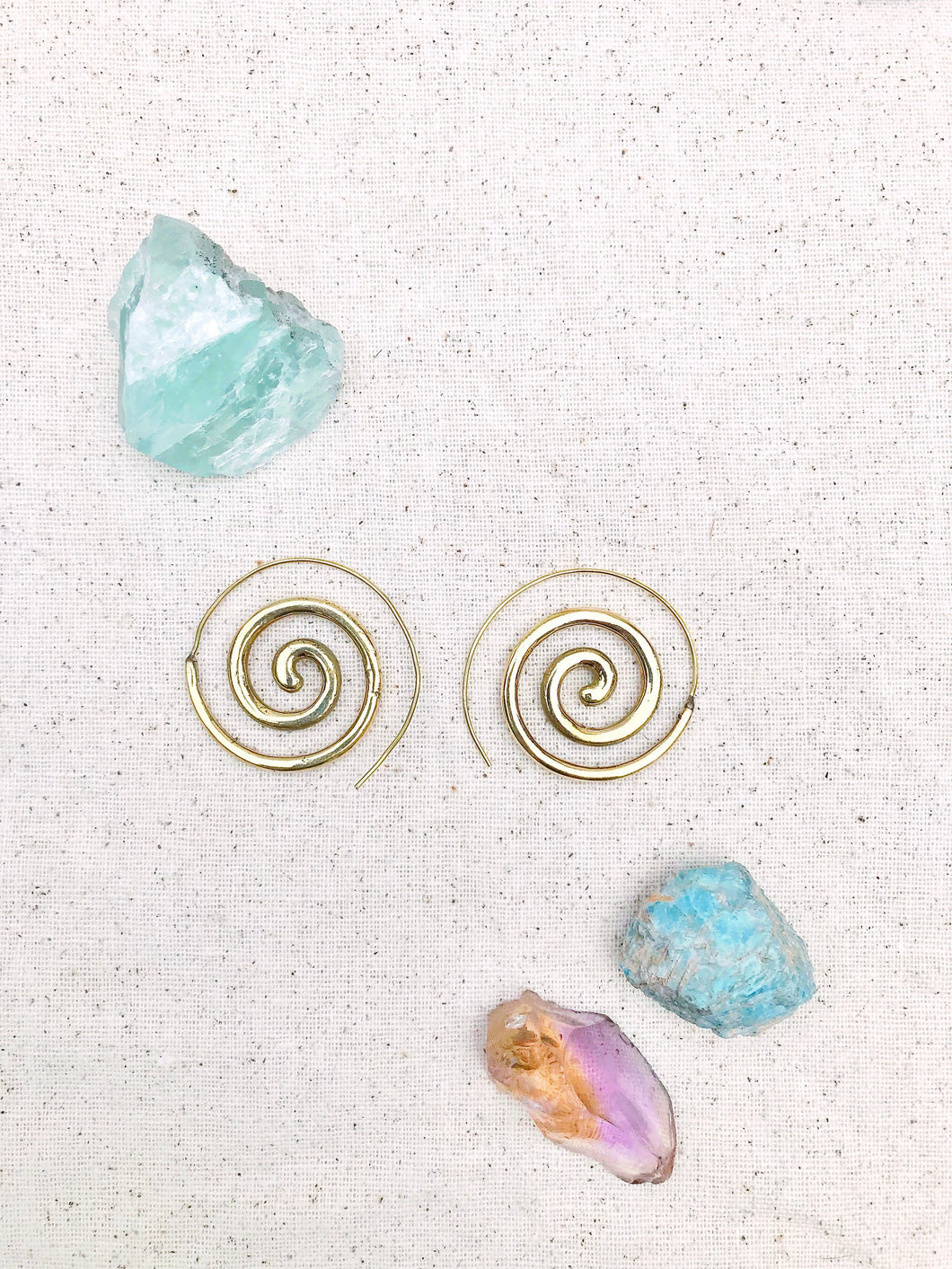 Solid Spiral Brass Earrings
