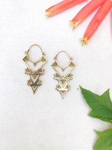 River Goddess Brass Earrings