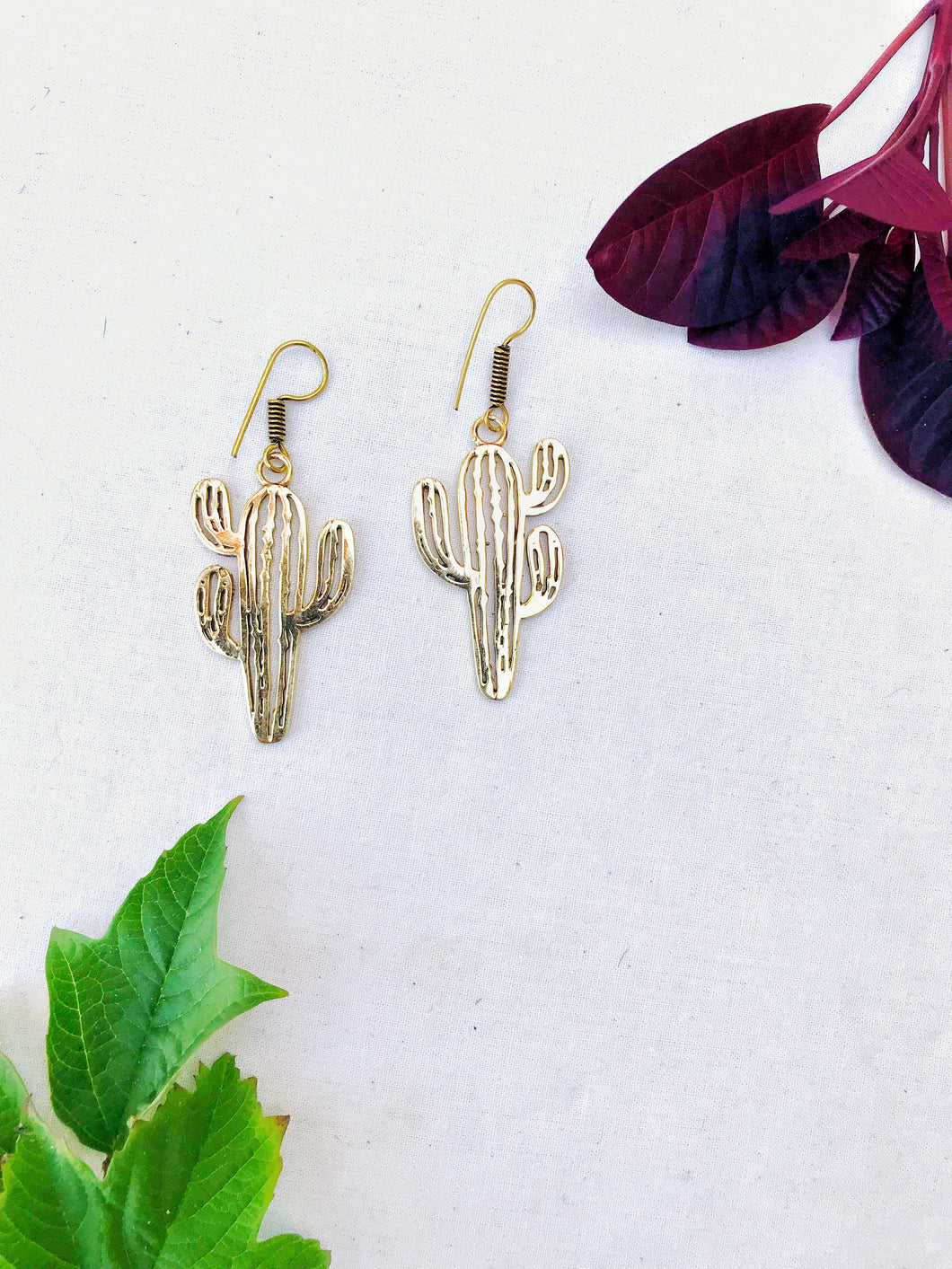 Cactus Dreams Brass Earrings