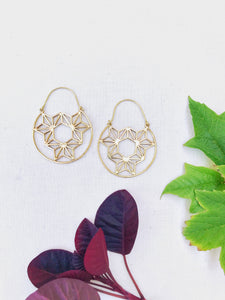 Sacred Geometry Brass Hoop Earrings