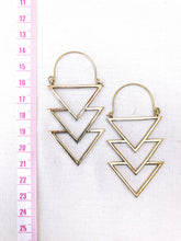Load image into Gallery viewer, Triple Triangle Brass Hoop Earrings