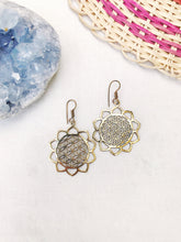 Load image into Gallery viewer, Lotus Flower of Life Brass Earrings
