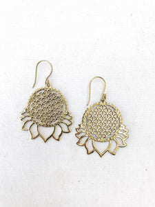 Flower of Life Lotus Brass Earrings