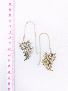 Hanging Leaves Brass Earrings