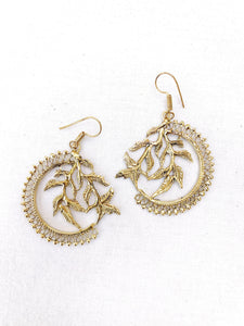 Leaves Brass Earrings