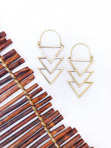 Triple Triangle Brass Hoop Earrings